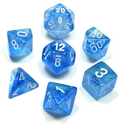 CHESSEX 7 DIE POLYHEDRAL DICE SET: BOREALIS SKY BLUE WITH WHITE
