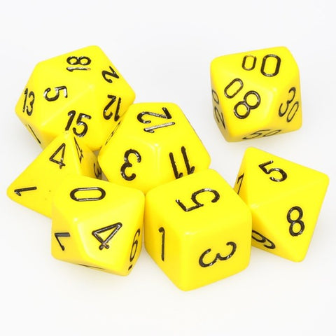 CHESSEX 7 DIE POLYHEDRAL DICE SET: OPAQUE YELLOW/BLACK