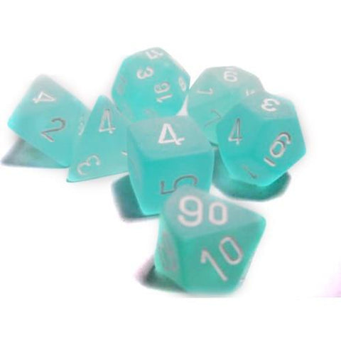 CHESSEX 7 DIE POLYHEDRAL DICE SET: FROSTED TEAL WITH WHITE