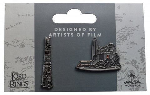 LORD OF THE RINGS PIN SET - HELMS DEEP AND ORTHANC