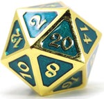 DIE HARD GOLD GREEN METAL D20