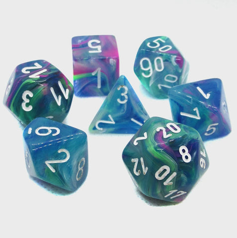 CHESSEX 7 DIE POLYHEDRAL DICE SET: FESTIVE WATERLILY WITH WHITE