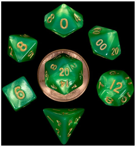 MDG MINI POLYHEDRAL DICE SET - GREEN WITH GOLD
