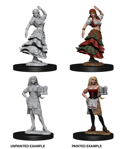 PATHFINDER BATTLES DEEP CUTS UNPAINTED MINI: BARTENDER AND DANCING GIRL