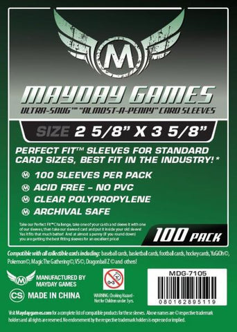 "MAYDAY 100 PACK 2 5/8"" X 3 5/8"" CARD SLEEVES"
