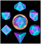 MDG MINI POLYHEDRAL DICE SET - PURPLE/TEAL WITH BLUE