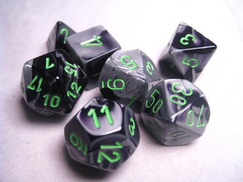 CHESSEX 7 DIE POLYHEDRAL DICE SET: GEMINI BLACK GREY WITH GREEN