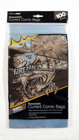 RESEALABLE ULTRA PRO CURRENT COMIC BAGS (100 PER PACK)