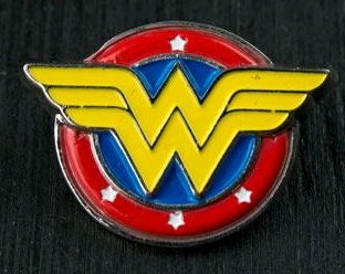 WONDER WOMAN LOGO COLOUR ENAMEL PEWTER LAPEL PIN