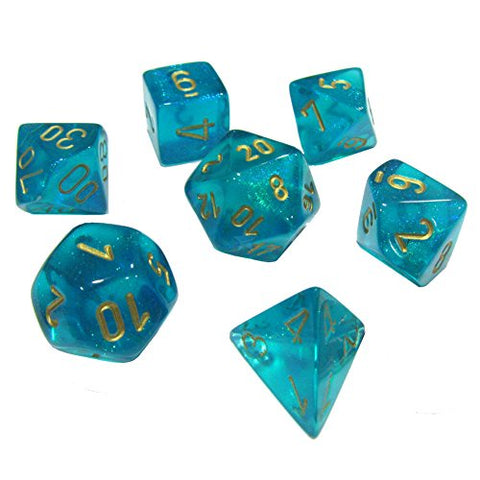 CHESSEX 7 DIE POLYHEDRAL DICE SET: BOREALIS TEAL WITH GOLD