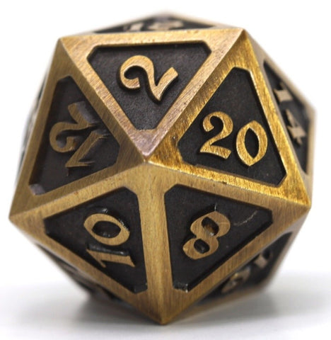 DIE HARD BATTLEWORN GOLD METAL D20