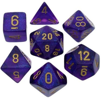 CHESSEX 7 DIE POLYHEDRAL DICE SET: BOREALIS ROYAL PURPLE WITH GOLD