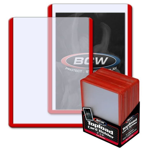 BCW 3 x 4 INCH TOPLOADER - RED BORDER