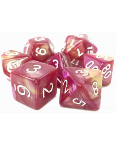 TMG 7 DIE POLYHEDRAL DICE SET : SHARAZAD'S TALE YELLOW ROSE FUSION