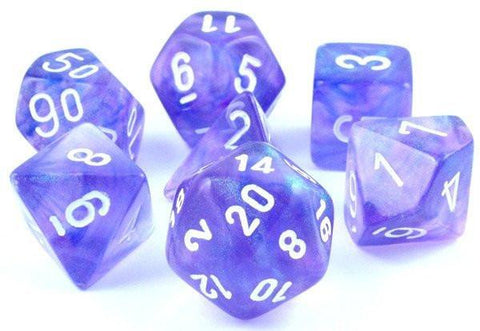 CHESSEX 7 DIE POLYHEDRAL DICE SET: BOREALIS PURPLE WITH WHITE