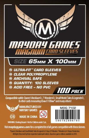 MAYDAY 100 PACK MAGNUM 65 X 100MM CARD SLEEVES