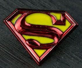 SUPERMAN LOGO COLOUR ENAMEL PEWTER LAPEL PIN