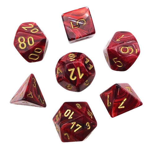 CHESSEX 7 DIE POLYHEDRAL DICE SET: VORTEX BURGUNDY WITH GOLD