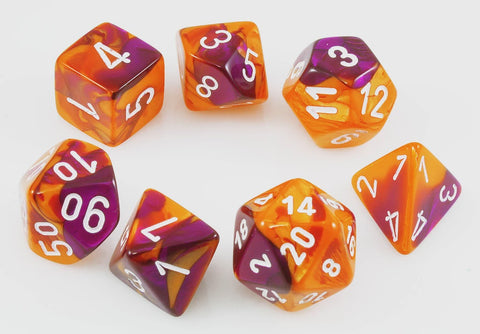 CHESSEX 7 DIE POLYHEDRAL DICE SET: LAB DICE GEMINI ORANGE-PURPLE WITH WHITE