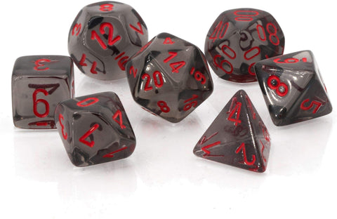 CHESSEX 7 DIE POLYHEDRAL DICE SET: TRANSLUCENT SMOKE WITH RED
