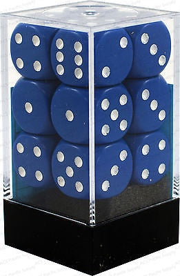 CHESSEX 16mm D6 DICE BLOCK (12 DICE) BLUE/WHITE