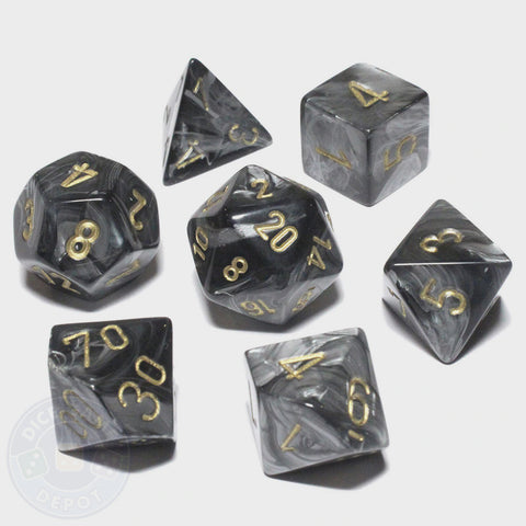CHESSEX 7 DIE POLYHEDRAL DICE SET: LUSTROUS BLACK WITH GOLD