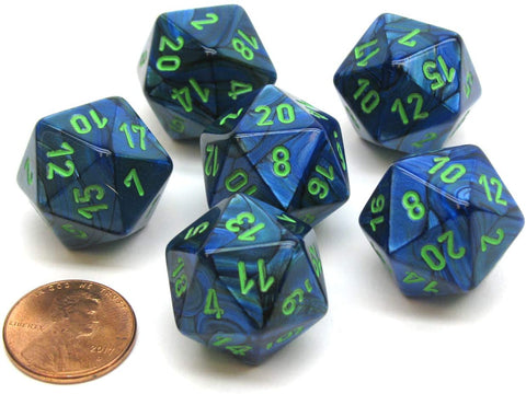 CHESSEX 7 DIE POLYHEDRAL DICE SET: LUSTROUS  DARK BLUE WITH GREEN