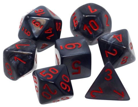 CHESSEX 7 DIE POLYHEDRAL DICE SET: VELVET BLACK WITH RED
