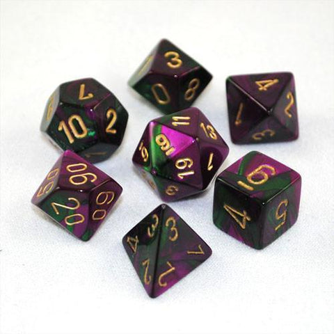 CHESSEX 7 DIE POLYHEDRAL DICE SET: GEMINI GREEN PURPLE WITH GOLD
