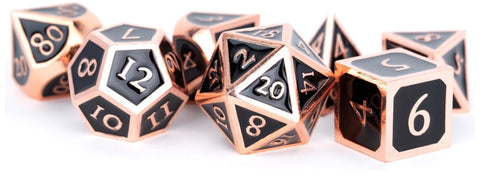 MDG METAL DICE SET - ANTIQUE COPPER WITH BLACK ENAMEL