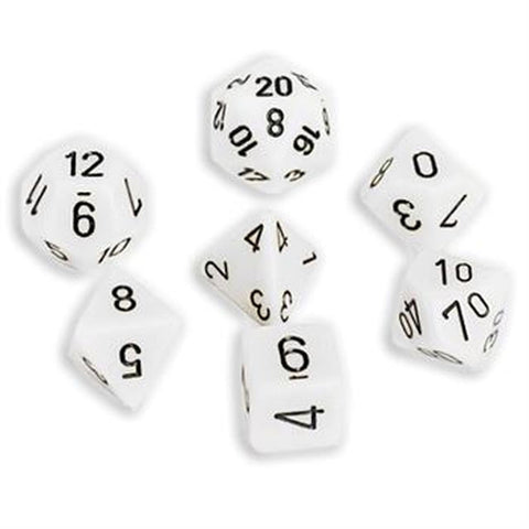 CHESSEX 7 DIE POLYHEDRAL DICE SET: OPAQUE WHITE/BLACK