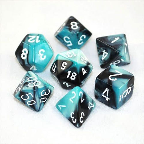 CHESSEX 7 DIE POLYHEDRAL DICE SET: GEMINI BLACK SHELL WITH WHITE