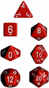 CHESSEX 7 DIE POLYHEDRAL DICE SET: OPAQUE RED/WHITE
