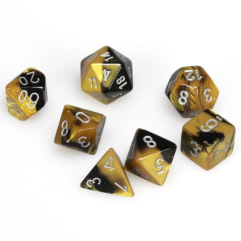 CHESSEX 7 DIE POLYHEDRAL DICE SET: GEMINI BLACK GOLD WITH SILVER