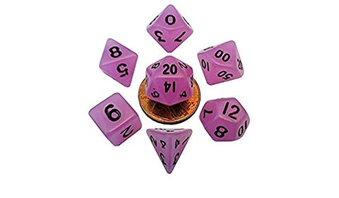 MDG MINI POLYHEDRAL DICE SET - GLOW PURPLE