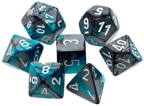 CHESSEX 7 DIE POLYHEDRAL DICE SET: GEMINI STEEL-TEAL WITH WHITE