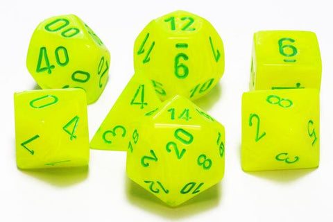 CHESSEX 7 DIE POLYHEDRAL DICE SET: VORTEX ELECTRIC YELLOW WITH GREEN