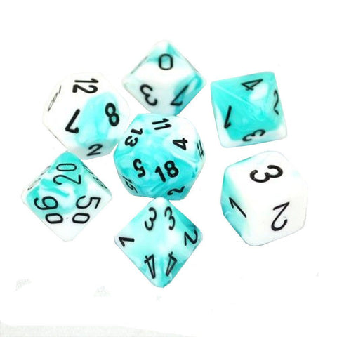 CHESSEX 7 DIE POLYHEDRAL DICE SET: GEMINI TEAL/WHITE WITH BLACK