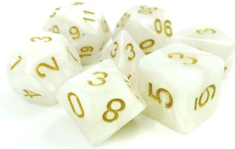TMG 7 DIE POLYHEDRAL DICE SET: DIVINE LIGHT WHITE PEARL