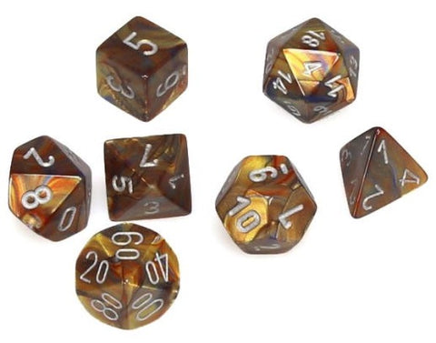 CHESSEX 7 DIE POLYHEDRAL DICE SET: LUSTROUS GOLD WITH SILVER