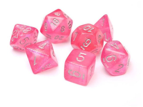 CHESSEX 7 DIE POLYHEDRAL DICE SET: BOREALIS PINK WITH SILVER