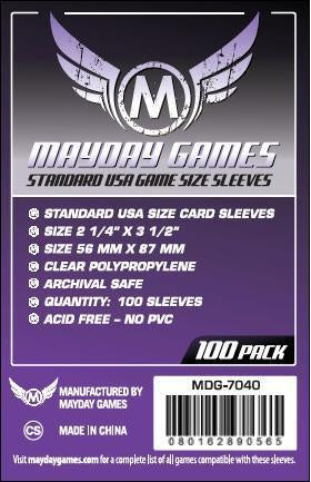 MAYDAY 100 PACK 56 X 87MM CARD SLEEVES