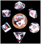 MINI POLYHEDRAL DICE SET - MARBLE WITH RED