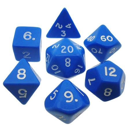 CHESSEX 7 DIE POLYHEDRAL DICE SET: OPAQUE BLUE/WHITE