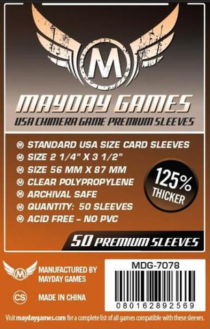 MAYDAY PREMIUM 50 PACK 57.5 X 89 MM CARD SLEEVES