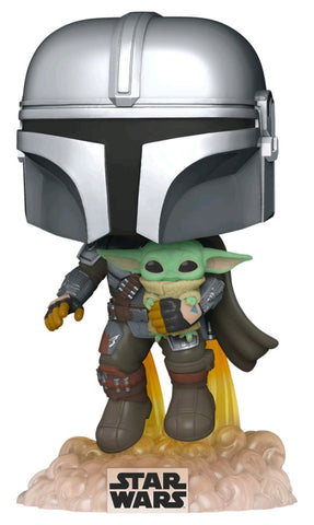 POP! STAR WARS MANDALORIAN: MANDALORIAN WITH THE CHILD JETPACK FLYING