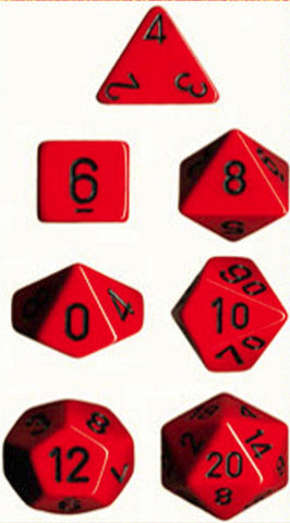 CHESSEX 7 DIE POLYHEDRAL DICE SET: OPAQUE RED/BLACK