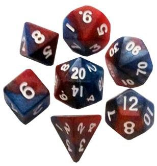 MDG MINI POLYHEDRAL DICE SET - RED/BLUE WITH WHITE