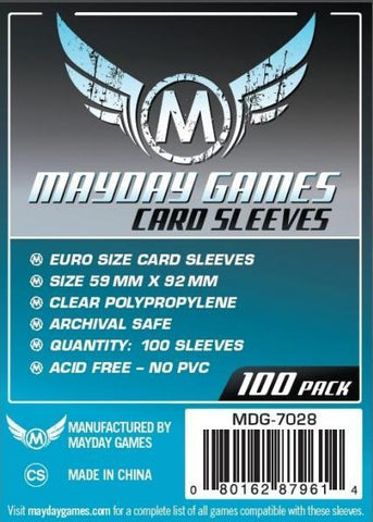 MAYDAY 100 PACK 59 X 92MM CARD SLEEVES