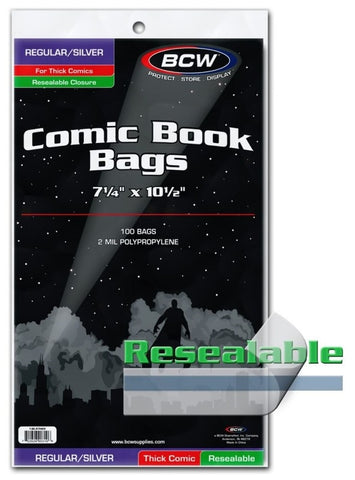 BCW COMIC BOOK BAGS SILVER/REGULAR SIZE (FOR THICKER COMICS) - RESEALABLE